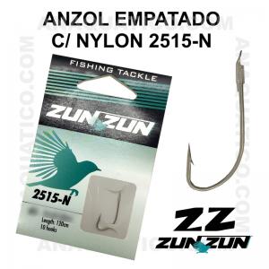 ANZOL ZUN ZUN EMPATADO 2515-N Nº 2 NICKEL - LINHA NYLON - 0.30mm - C/ 10 PCS