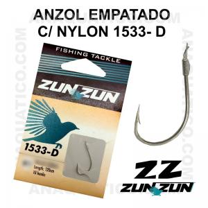ANZOL ZUN ZUN EMPATADO 1533-D Nº 5 NICKEL - LINHA NYLON - 0.28mm - C/ 10 PCS
