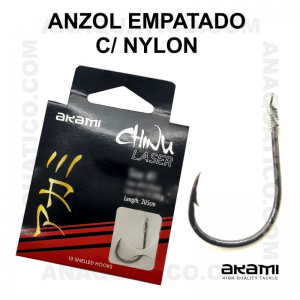 ANZOL AKAMI EMPATADO CHINU Nº 8 BLACK NICKEL - LINHA NYLON-  0.26mm - C/ 10 PCS