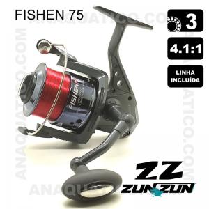 CARRETO ZUN ZUN FISHEN 75 BB 3 / R 4.1:1 LINHA INCLUÍDA